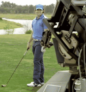 Rory McIlroy takes on the robot in a game of target golf. Rory vs. the robot
