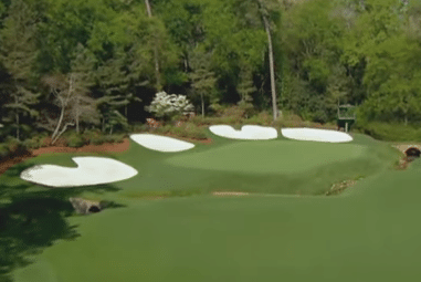 Augusta National 13 green read putts and green from fairway