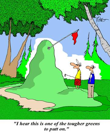 golf funny cartoon downhill uphill putts
