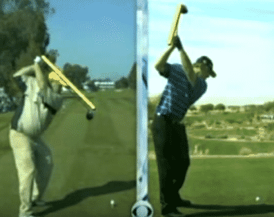 John Daly and JB Holmes at top of backswing